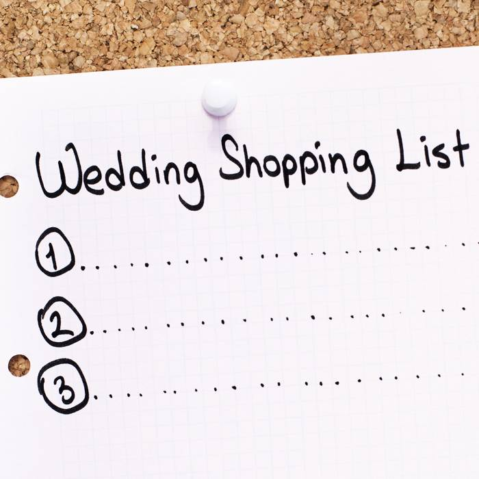wedding shopping list